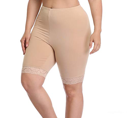 Women's Plus Size Modal Cotton Short Leggings Pants Lightweight Breathable Mid Thigh Stretchy Shorts (3X, Lace Edge Nude) (Shorts 3 Size)