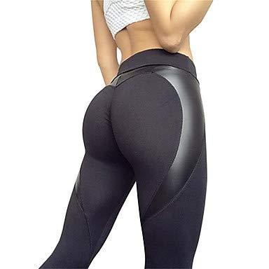 ZML Frauen Yogahosen Solid Color Elastane Running Fitness Gym Workout Tight Leggings Bottoms Activewear Moisture Wicking Butt Lift Tummy Control Power Flex High Elastizity Skinny, Schwarz,XL