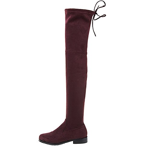 Style Wine Fashion Boots Winter Red Pull On Flat Thigh Women's Knee Hot High Suede Sexy qR7BvytZO