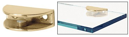 CRL Brass Finish Solid Brass Rounded Glass Shelf Clamp