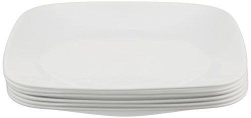 Corelle Square Pure White 9-Inch Plate Set (6-Piece) (Plates Corelle Clearance Dinner)