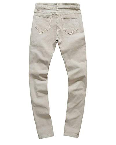 Con Da Casual Uomo Estilo Bobo Sottili In Affusolati Grauwhite Pantaloni Taglio Denim Especial Jeans Strappati 88 FBEqqYw1