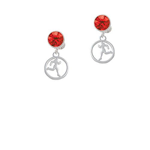 Silvertone Runner Silhouette in 1/2'' Disc - Red Crystal Clip on - Clip Ons Silhouette
