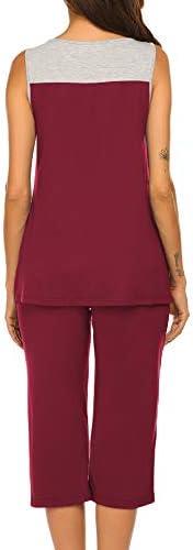 Ekouaer Womens Pajama Sets Capri Pants with Pleated Tank Tops Soft Sleepwear Ladies Sleep Sets