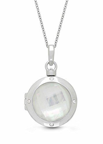 Sterling Silver-Diamond-MOP-Custom Photo Locket Necklace-34-inch chain-The Michelle by With You Lockets by With You Lockets