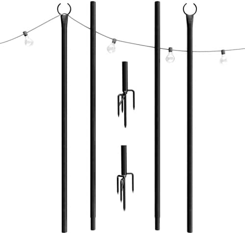 iclbc String Light Pole - Outdoor Metal Poles with Hooks for Hanging String Lights - Garden, Backyard, Patio Lighting Stand for Parties, Wedding