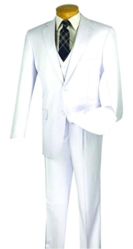 Vinci Tone On Tone Stripe 2 Button Single Breasted Classic Fit Suit W/Vest V2TT-8-White-56L ()
