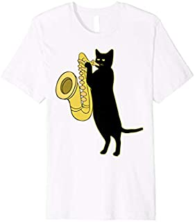 Cat Playing Saxophone    Cool Wind Instrument Sax Gift T-shirt   Size S - 5XL