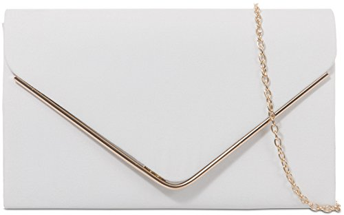 Clutch Frame White Metallic H Design Nude Faux Envelope Plain Bag Ladies Suede amp;G wqfHUIq8