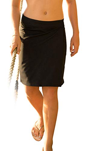RipSkirt Hawaii - Length 2 - Quick Wrap Athletic Cover-up that Multitasks as the Perfect Travel/Summer Skirt,Black,Large / 12-14