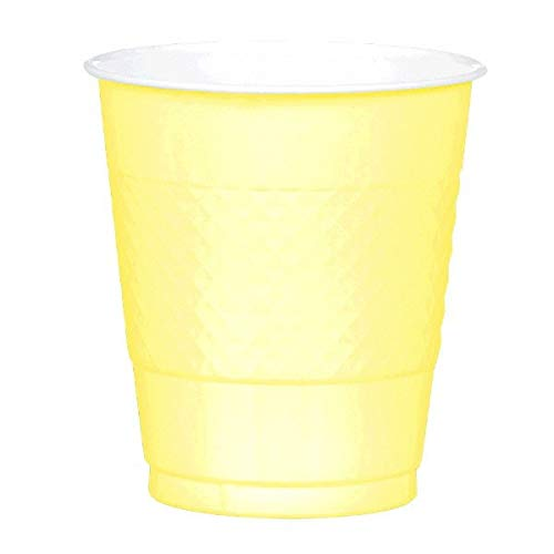 JF World Light Yellow Plastic Cups 12oz 20ct