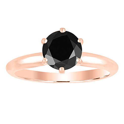 - 1/2 0.5 Carat 14K Rose Gold Round Black Diamond Solitaire Ring (AAA Quality)