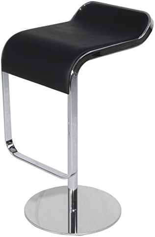 Emorden Furniture LEM Style Piston Bar Stool in Top Italian Leather, Adjustable 27.2 -33.1 Smooth Hydraulic Piston. Swivel Smooth, Sturdy and Well-made Polished Chrome Steel Frame Black, Set of 1