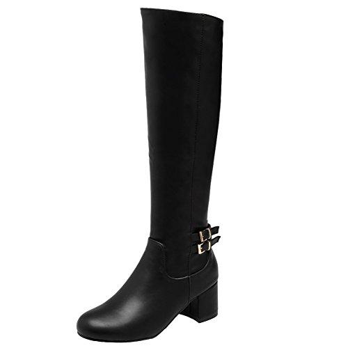 Latasa Dames Dikke Hak Winter Knie Laarzen Zwart