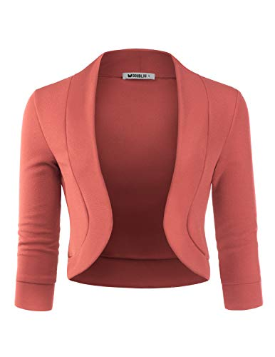 (TWINTH Women's Classic 3/4 Sleeve Open Front Cropped Cardigans Mauve 2X Plus)