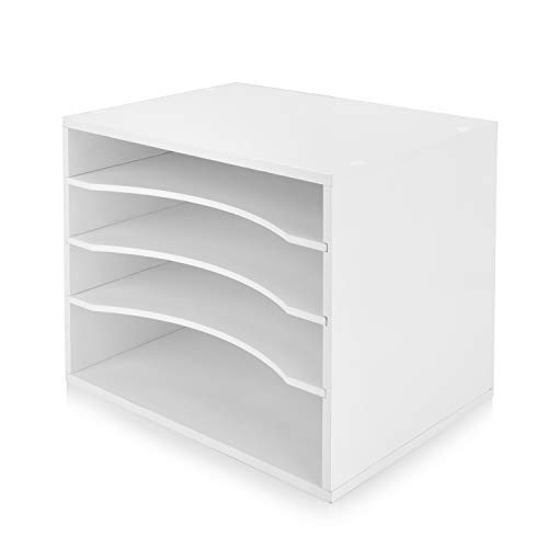 (Julie-Home Wood Desktop Organizer Letter Tray File Mail Sorter,White)