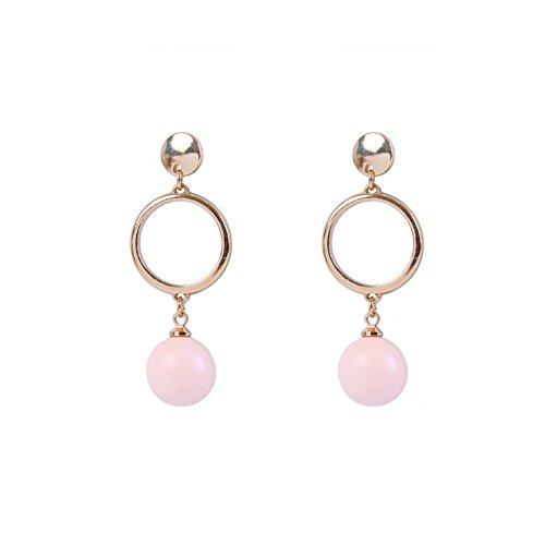 (BOYON Pearl Dangle Earrings O-Ring Linked to Plat High Polish Stud)