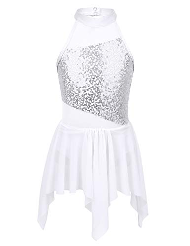 Yeahdor Big Girls' Lyrical Latin Ballet Dance Costumes Dresses Halter Sequins Irregular Tutu Skirted Leotard Dancewear White 7-8