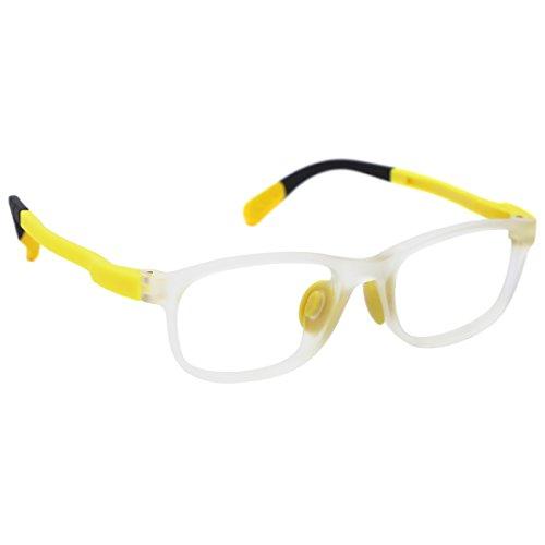 modesoda Kids Non-Prescription Eyeglasses Frame,Optical Glasses Student Glasses Clear Lens for Age 3-5 Boys Girls Yellow