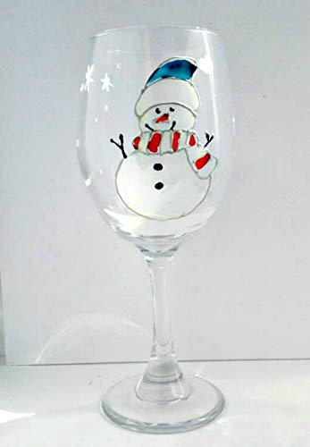 Blue Hat Snowman Hand Painted Winter Holiday Wine Glass