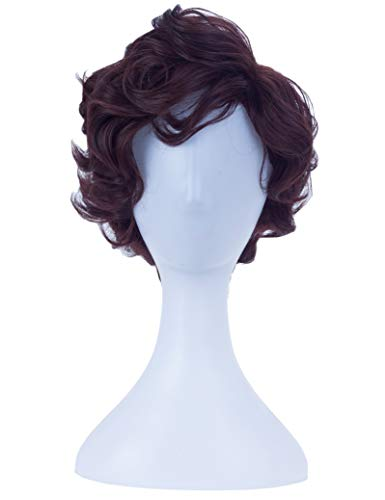 Angelaicos Men's Short Curly Brown Black Wig Halloween Costume Cosplay Party Fluffy Wigs -
