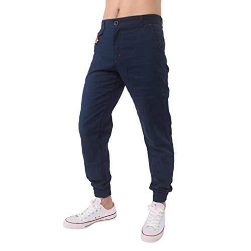 BoBoLily Pantalones Largos para Hombres Jeans Pantalones para Hombres Pantalones De Lino Pantalones De Lino Pantalones Deportivos para Hombres Sueltos Marine