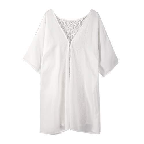 VLDO Sexy for Women Fashion Solid Lace Coat Tops Suit Bikini Swimwear Beach Swimsuit Smock(White,L) ()