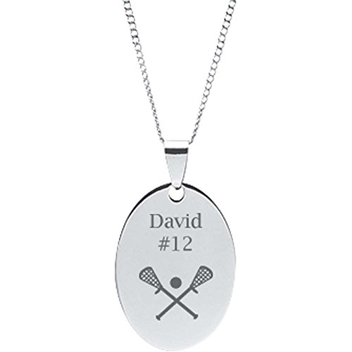 DMD Collection Stainless Steel Engravable Lacrosse Oval Pendant on 18
