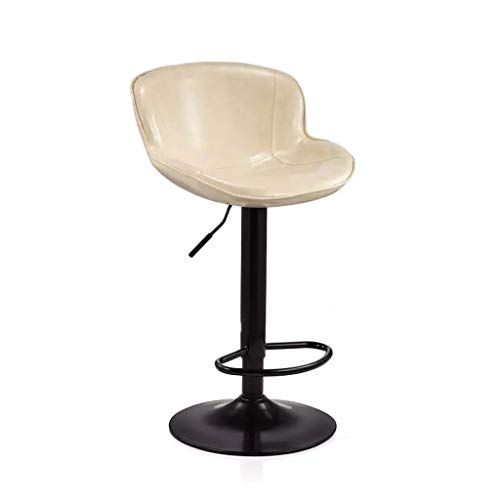 Moolo Bar High Stool Chair,360°Swivel Height Adjustable Soft and Comfortable Oil Wax Leather Polymer Black Spray Technology Barstools (Color : White)