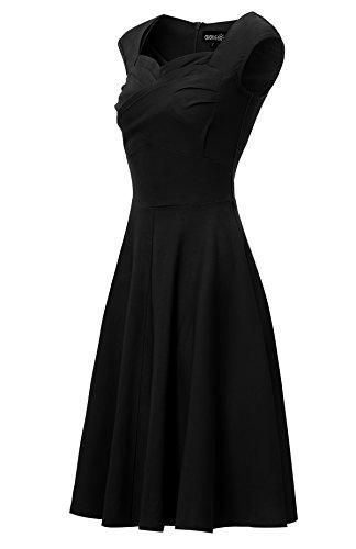 estilo vintage para años 50 mujer Vestido de Negro Gigileer algodón CHqXZ4nw