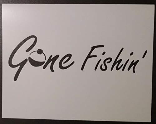 Custom Stencil Gone Fishing Fishin Bobber 8.5 x 11