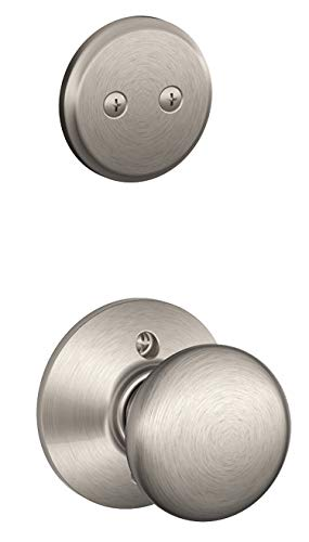 Schlage F94-PLY Plymouth Knob Dummy Interior Pack from The F-Series, Satin Nickel
