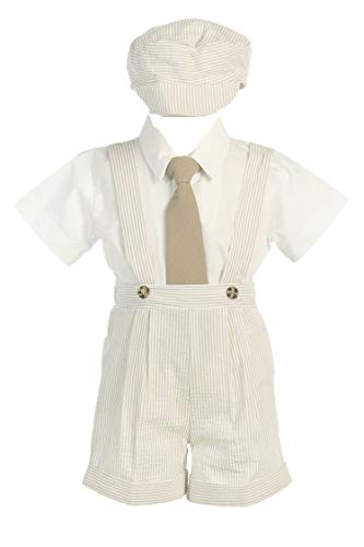 Boys Khaki Seersucker 4 Pc Suspender Shorts - 4T from Lito