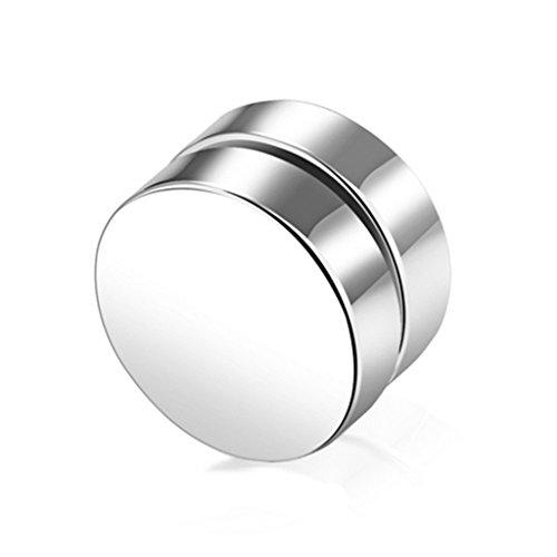 Riskt 1 Pair Magnetic Stud Earrings for Women Men Metal Magnet Ear Decoration (Silver, 6mm)