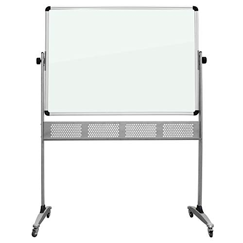 Reversible Glass - Mobile Glass Dry Erase Board, Double Sided Glass Whiteboard on Wheels Rolling with Stand, 48 X 36 Inches, Reversible & Portable Glass White Board Easel