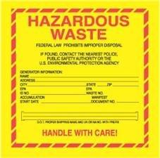6 x 6 standard hazardous waste labels 100 labels - Hazardous Waste Labels