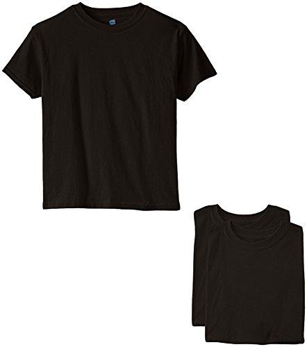 Black Kids T-shirt - Hanes Big Boys' Short Sleeve Comfort Soft Tee Pack of 3, Black, Large