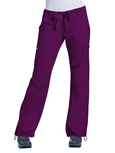 KOI Women's Lindsey Ultra Comfortable Cargo Style Scrub Pants (Petite Sizes), Merlot, Medium