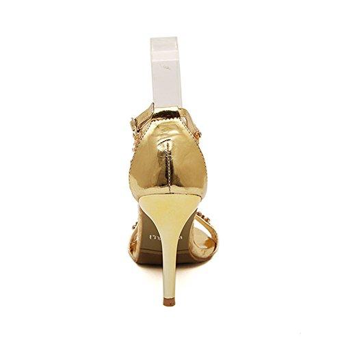 Fereshte Donna Glitterato Stiletto Tacco Alto Con Fibbia In Strass Sandali Con Strass Dorati