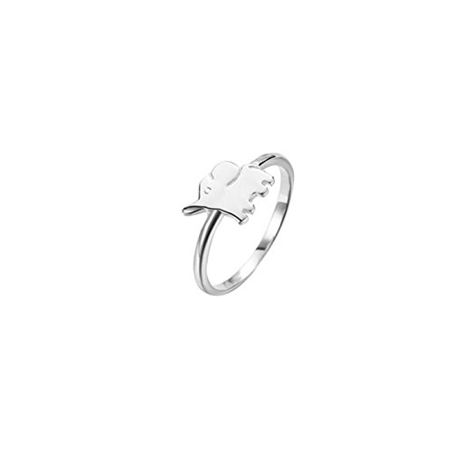 Cute Ring Leader Costume (MoAndy S925 Sterling Silver Ring For Women Cute Elephant Shape White Size 6)