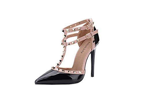 Mila Lady (ETHER08 Two -Tone Patent Strappy Ankle with Stud Elegance Platform Lady Heeled Pumps Shoes ! BLACK8.5