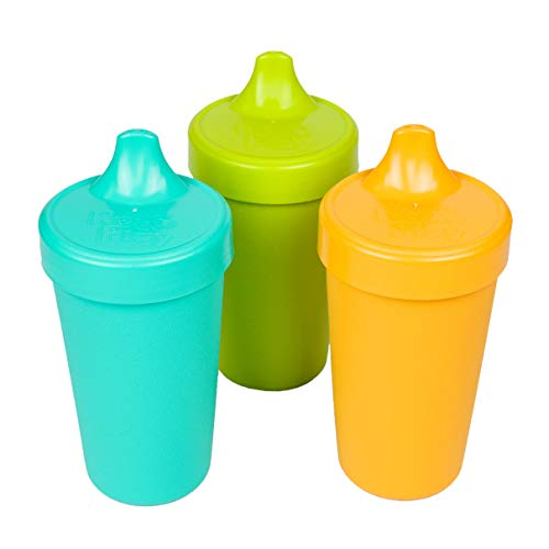 Re-Play Made in the USA 3pk No Spill Sippy Cups for Baby, Toddler, and Child Feeding - Aqua, Green, Sunny Yellow (Aqua Asst.) Durable, Dependable and Toddler Tough