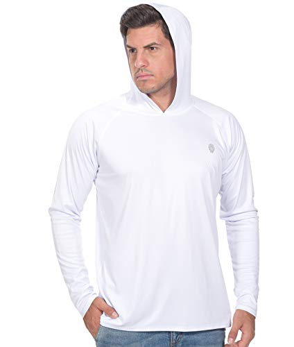 PIQIDIG UV Shirts for Men Long Sleeve - Fishing Shirts Outdoor Hoodies White 2XL