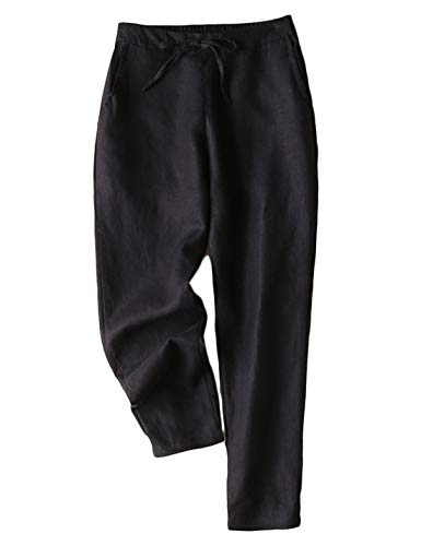 Jenkoon Women's Linen Pants Back Elastic Drawstring Tapered Pants Lightweight Summer Trousers (Black, XX-Large)