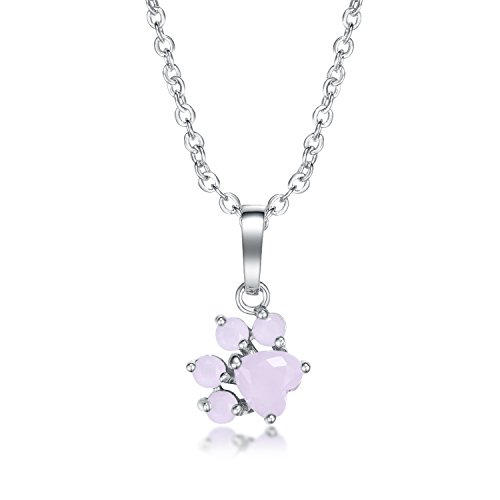 - Viola Tricolor Cute Cat Paw Necklace Sliver Poppy Paw Charm Necklace Pink Cubic Zirconia Crystal Animal Necklace Pendants Fashion Jewelry Women Teen Girls Daughter Necklace Best Friend Necklaces