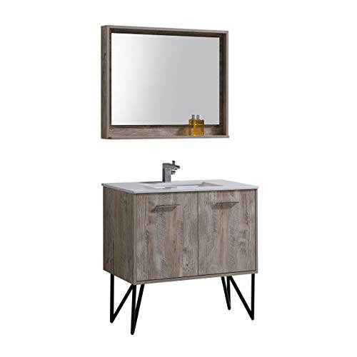 Bosco 36″ Modern Bathroom Vanity w/Quartz Countertop and Matching -