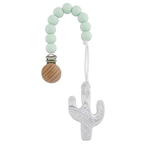 (Babe Basics Cactus Teething Pendant | Handmade Natural Wood & Silicone Teething Pendant (Mint & Marble Cactus))