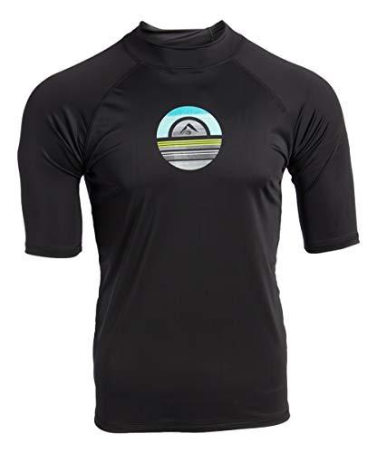 Kanu Surf Men's Mercury UPF 50+ Short Sleeve Sun Protective Rashguard Swim Shirt, Avalon Black, Medium