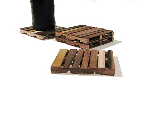 Walnut Wood Pallet Coasters Wood Drink Coasters Gift Set of 4 Wood Coasters made from Walnut