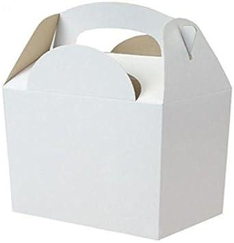 6x Blanco sin Líneas Cajas Fiesta Comida Lonchera de Cartón para Regalo Boda/Niños: Amazon.es: Oficina y papelería